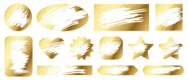 Zdrapki. złota tekstura gry loteryjnej dla szczęśliwych wygranych i przegranych drapania biletów. hazard, szybka wygrana kuponu jackpot wektor zestaw. zdobywanie nagrody lub wygranej, ilustracja różnych kształtów