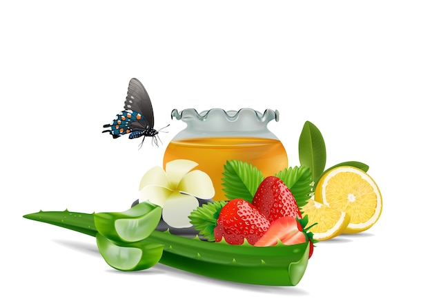 Zdrój aloesu vera cytryny truskawki tło