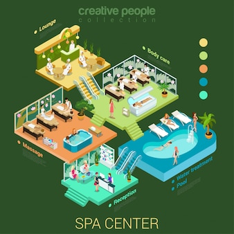 Zdroju salonu centrum pojęcia wektoru wewnętrzna kreatywnie isometric ilustracja.