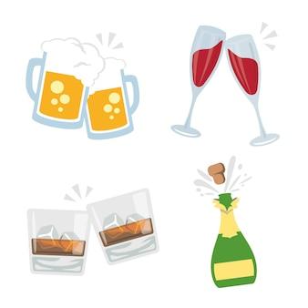 Zdrów clink szklanki napojów alkoholowych drink party vector