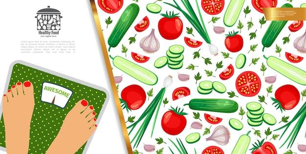 Zdrowa dieta kolorowy z kobietą stojącą na wadze i warzywami w płaski ilustracja