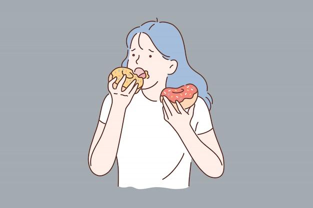Zdrowa dieta lub śmieciowe jedzenie.