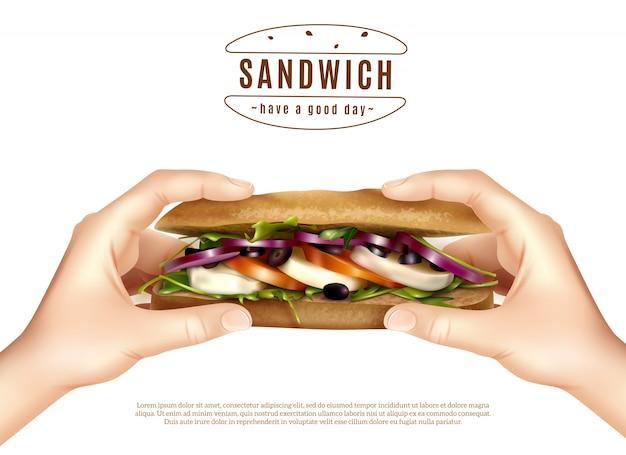 Zdrowa kanapka w rękach realistyczny obraz