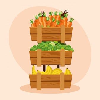 Zdrowa marchew z warzywami z marchwi i bananów