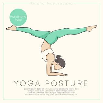 Zdrowa młoda kobieta praktykowania jogi w pastelowym stroju.