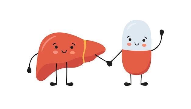 Zdrowa wątroba i szczęśliwe uśmiechnięte postacie pigułki medycyny trzymają się za ręce. kapsułka z lekarstwami kawaii i urocze postacie z wątroby