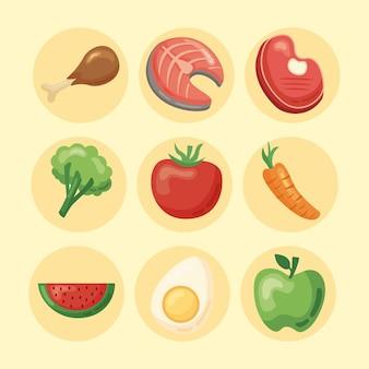 Zdrowa żywność dziewięć ikon
