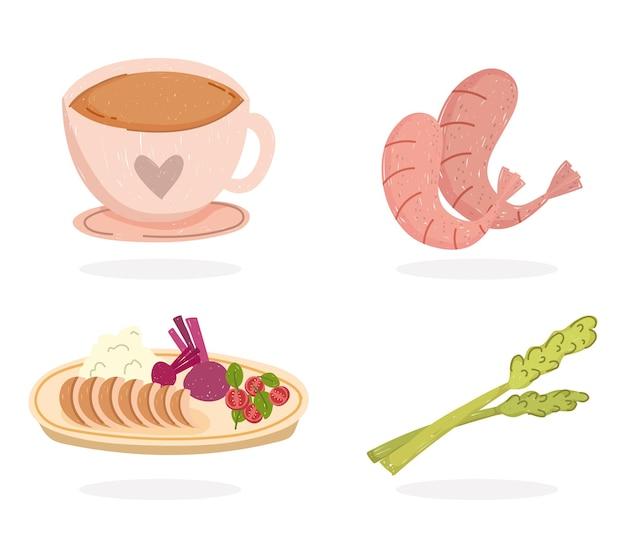 Zdrowa żywność, kawa, krewetki, seler, i ilustracja obiad