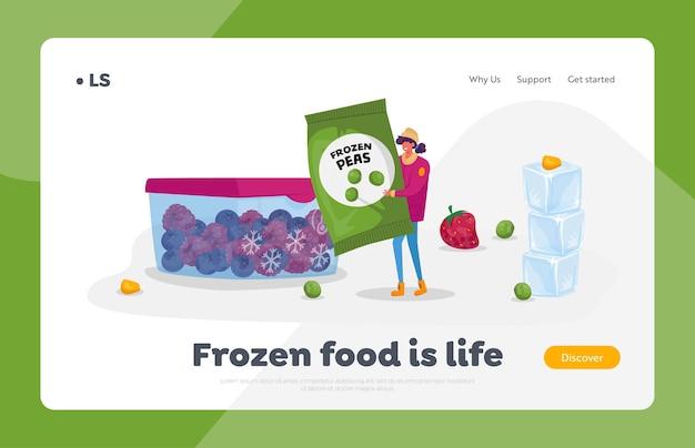 Zdrowa żywność, mrożone warzywa, ekologiczne produkty oszczędzające szablon strony docelowej. młoda kobieta niesie pakiet z mrożonym zielonym groszkiem w pobliżu pojemnika z mrożonymi jagodami. postać z kreskówki