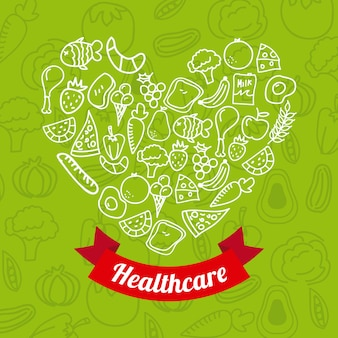 Zdrowa żywność na zielonym tle ilustracji wektorowych