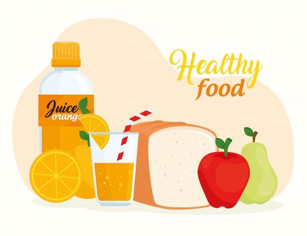 Zdrowa żywność, owoce z butelką chleba i soku