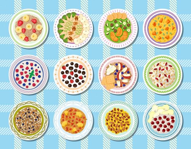 Zdrowa żywność owsianka na śniadanie i płatki owsiane z jagodami w misce na wegetariańską dietę ilustracja zestaw płatków z owocami rano na tle
