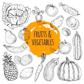 Zdrowa żywność piktogramy układ zbioru owoców i warzyw