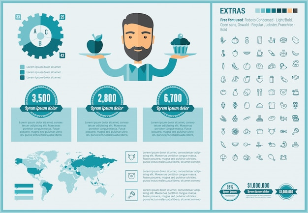 Zdrowa żywność płaska konstrukcja infographic szablon i ikony zestaw