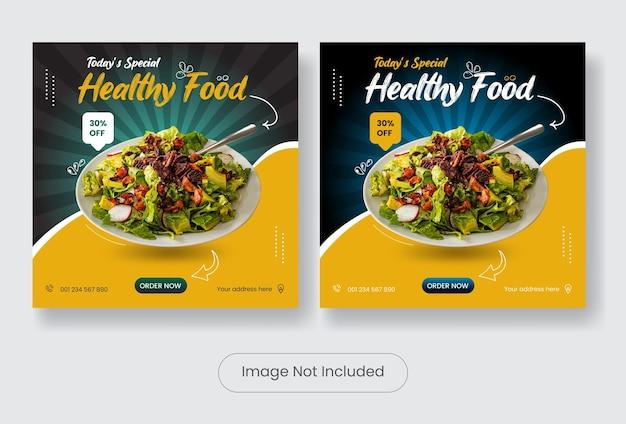 Zdrowa żywność szablon postu na instagramie zestaw banerów