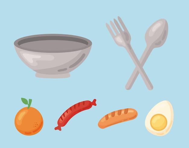 Zdrowa żywność sześć ikon