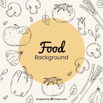 Zdrowa żywność tło z ręcznie rysowane stylu