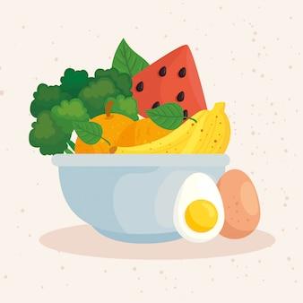 Zdrowa żywność, warzywa i owoce w misce