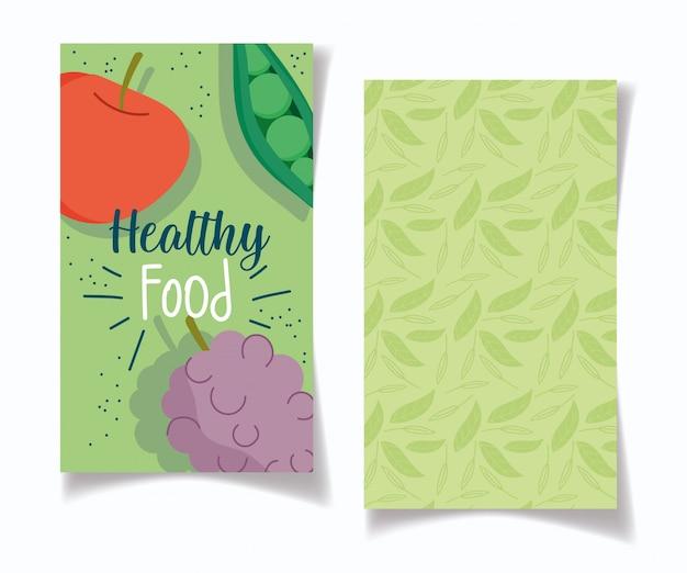 Zdrowa żywność, winogrona jabłkowe i groszek równowaga zdrowotna żywienie dieta