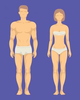 Zdrowe ciało mężczyzny i kobiety płaski zestaw