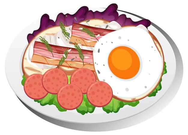 Zdrowe danie śniadaniowe na białym tle