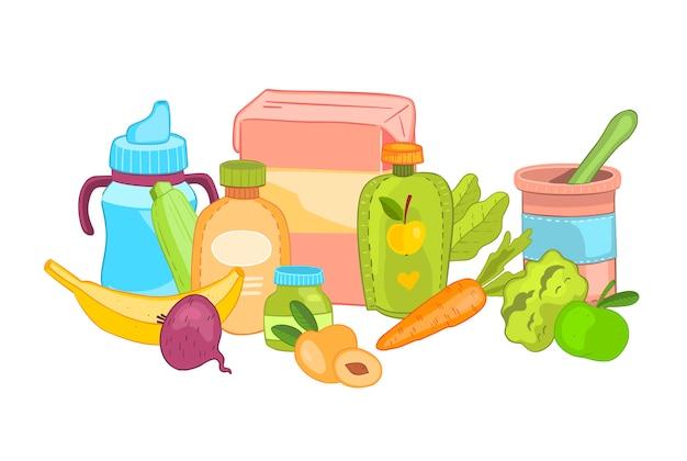 Zdrowe dziecko jedzenie koncepcja w stylu cartoon.