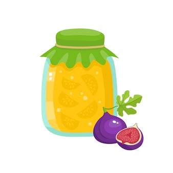 Zdrowe ekologiczne świeże gospodarstwo figowe dżem na białym tle. ilustracja wektorowa owoców kreskówki w słoiku używane do magazynu, plakatu, menu, stron internetowych.