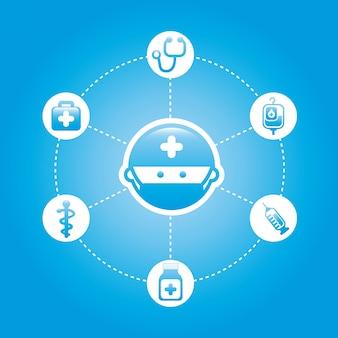 Zdrowe ikony na niebieskim tle ilustracji wektorowych