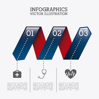 Zdrowe infografiki na białym tle