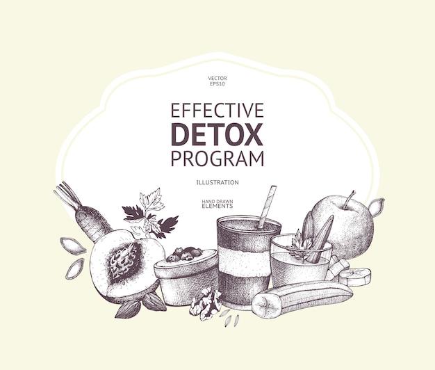 Zdrowe jedzenie i napoje vintage design. owoce, warzywa, koktajle, orzechy szkice tło. składniki diety letniej. szablon