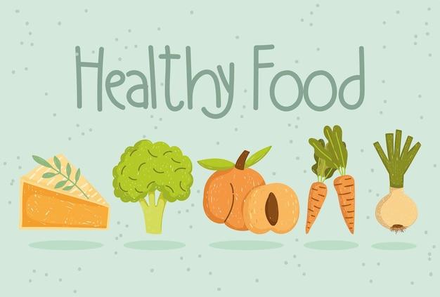 Zdrowe jedzenie kawałek ciasta brokuły marchew cebula i brzoskwinia ilustracja