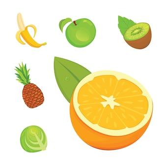Zdrowe jedzenie na białym tle płaskie ilustracje