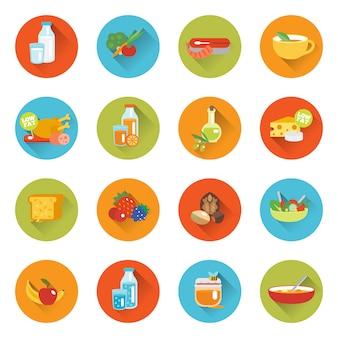 Zdrowe jedzenie płaskie ikony