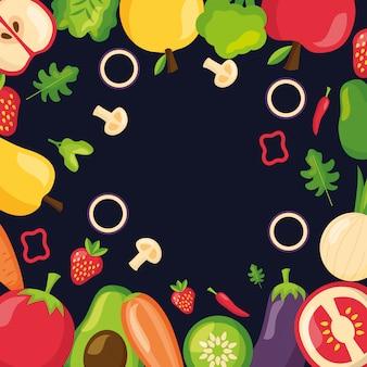 Zdrowe jedzenie świeże tło ramki
