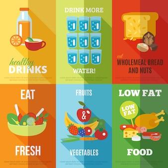 Zdrowe jedzenie zestaw plakatów