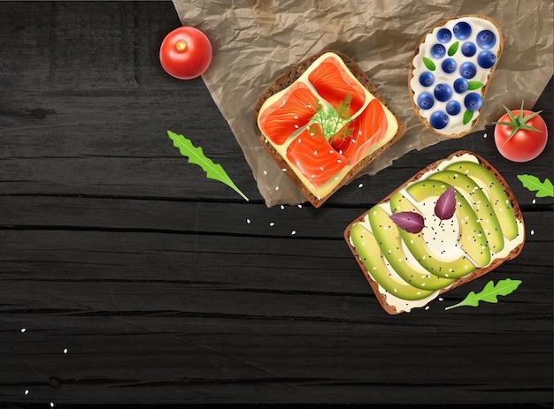 Zdrowe kanapki na realistycznej ilustracji ciemnej drewnianej powierzchni