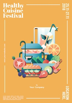 Zdrowe kuchnia plakat szablon makieta