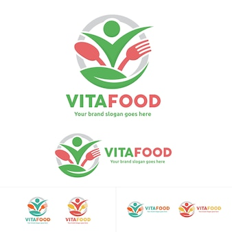 Zdrowe logo żywności, ludzie z widelcem i łyżką symbol