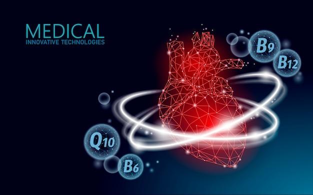 Zdrowe ludzkie serce 3d witaminy low poly.