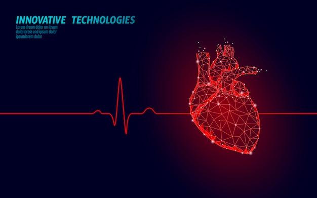 Zdrowe ludzkie serce bije 3d model medycyny low poly. kropki połączone trójkątem świecą się na czerwono. pulsu wewnętrznego ciała nowożytnego anatomicznego kształta innowacyjna technologia odpłaca się wektorową ilustrację