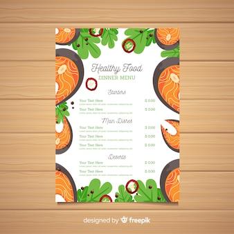 Zdrowe menu szablon płaski ryb ramki