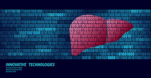 Zdrowe narządy wewnętrzne detoksykacyjne wątroby. przepływ danych w kodzie binarnym.