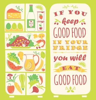 Zdrowe odżywianie tło z cytatem