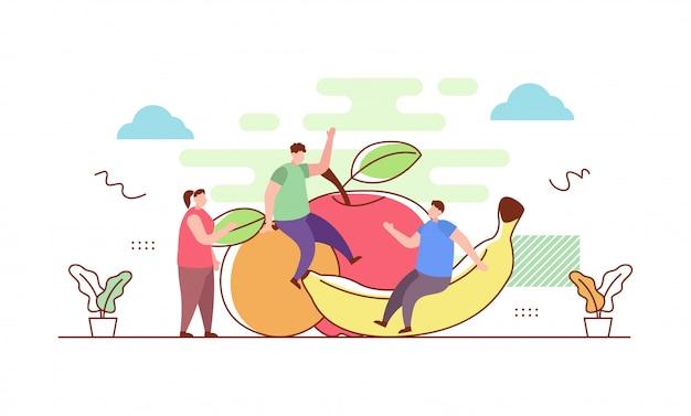Zdrowe owoce w stylu płaski