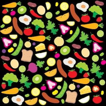 Zdrowe owoce warzywa dieta jedzenia przydatne witaminy cartoon wektor