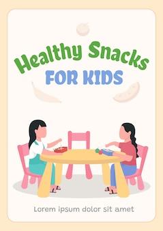 Zdrowe przekąski dla dzieci plakat płaski. szkolny suchy prowiant na lunch.