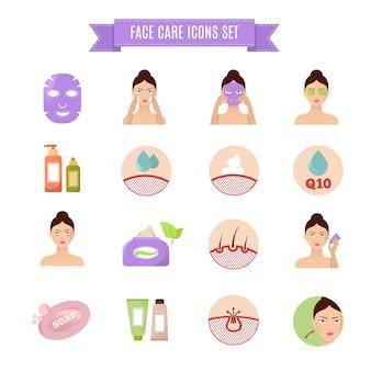 Zdrowe skóry i opieki płaskie ikony