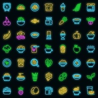 Zdrowe śniadanie ikony ustaw wektor neon