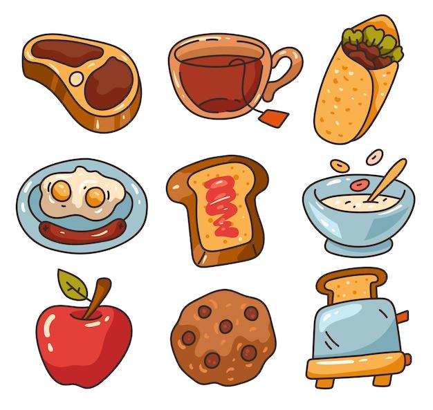Zdrowe śniadanie jedzenie na białym tle kolekcja zestawów graficznych