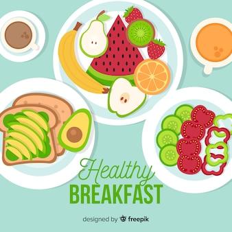Zdrowe śniadanie w tle
